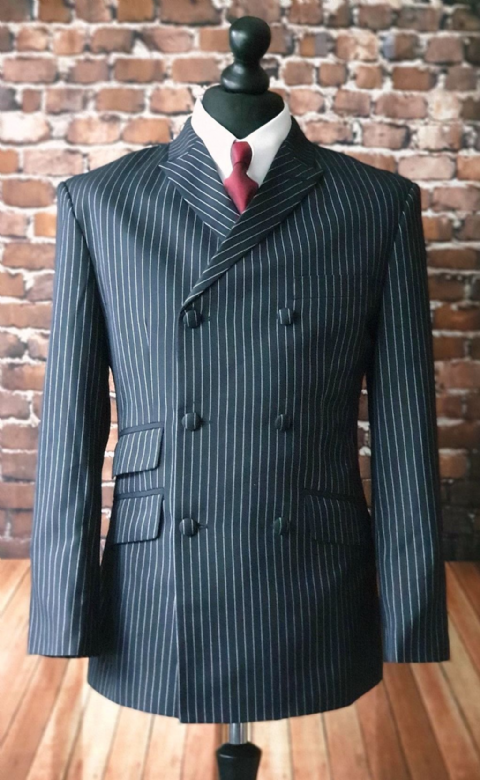 """Garfield"" Double Breasted Pinstripe 6 Button Suit"